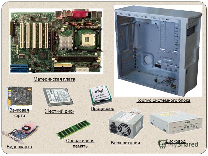Материнская плата Звуковая карта Жесткий диск Процессор Корпус системного блока Видеокарта Оперативная память Блок питания Дисковод
