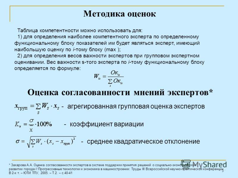 5 Таблица компетентности можно использовать для: 1) для определения наиболее компетентного эксперта по определенному функциональному блоку показателей им будет являться эксперт, имеющий наибольшую оценку по i-тому блоку (max ); 2) для определения вес