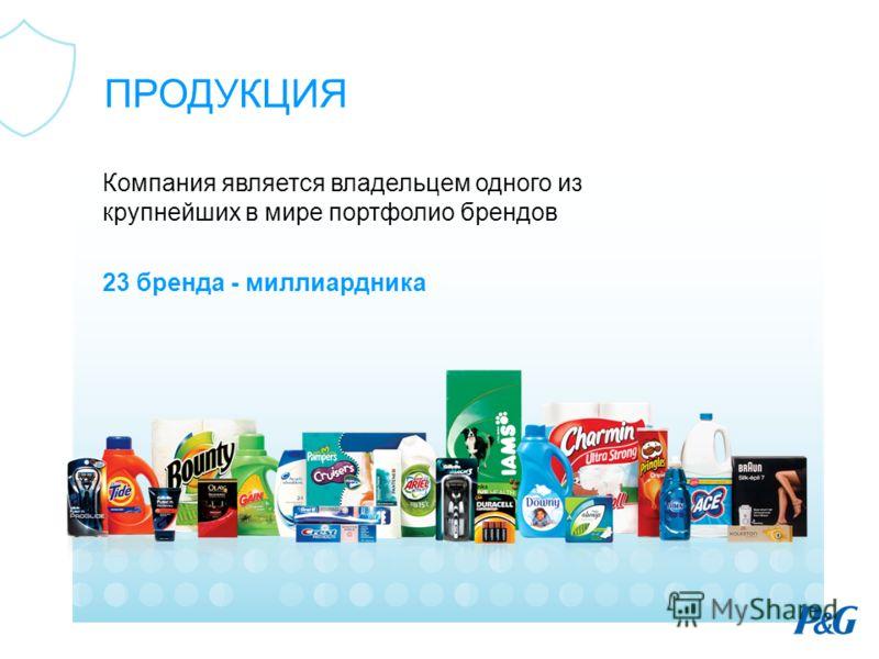 Компания является владельцем одного из крупнейших в мире портфолио брендов 23 бренда - миллиардника ПРОДУКЦИЯ