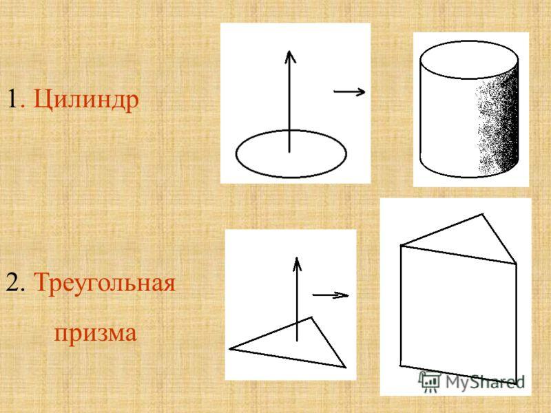 1. Цилиндр 2. Треугольная призма