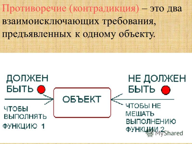 Противоречие (контрадикция) – это два взаимоисключающих требования, предъявленных к одному объекту.