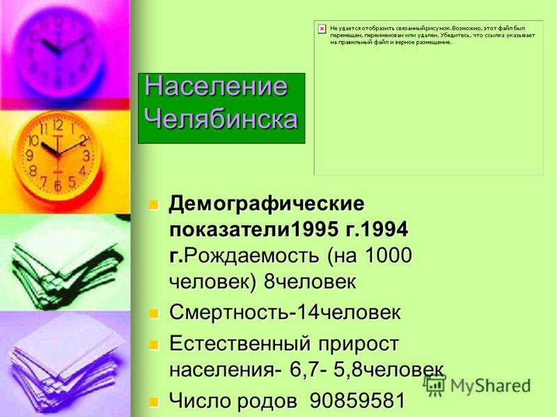 Население Челябинска Демографические показатели1995 г.1994 г.Рождаемость (на 1000 человек) 8человек Демографические показатели1995 г.1994 г.Рождаемость (на 1000 человек) 8человек Смертность-14человек Смертность-14человек Естественный прирост населени