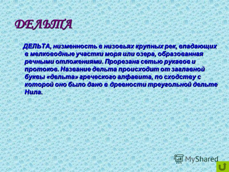 ДЕЛЬТА ДЕЛЬТА, низменность в низовьях крупных рек, впадающих в мелководные участки моря или озера, образованная речными отложениями. Прорезана сетью рукавов и протоков. Название дельта происходит от заглавной буквы «дельта» греческого алфавита, по сх