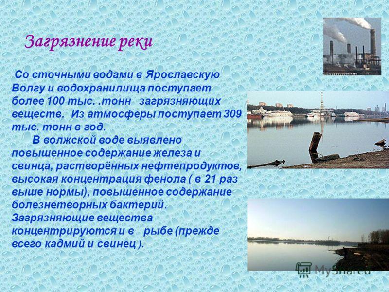 Загрязнение реки Со сточными водами в Ярославскую Волгу и водохранилища поступает более 100 тыс..тонн загрязняющих веществ. Из атмосферы поступает 309 тыс. тонн в год. В волжской воде выявлено повышенное содержание железа и свинца, растворённых нефте
