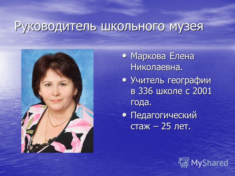Руководитель школьного музея Маркова Елена Николаевна. Учитель географии в 336 школе с 2001 года. Педагогический стаж – 25 лет.