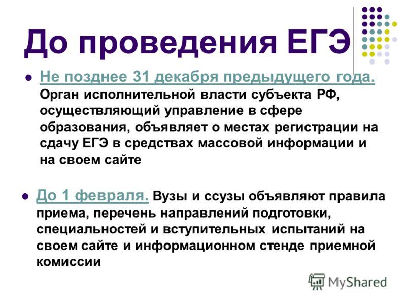 До проведения ЕГЭ Не позднее 31 декабря предыдущего года. Орган исполнительной власти субъекта РФ, осуществляющий управление в сфере образования, объявляет о местах регистрации на сдачу ЕГЭ в средствах массовой информации и на своем сайте До 1 феврал