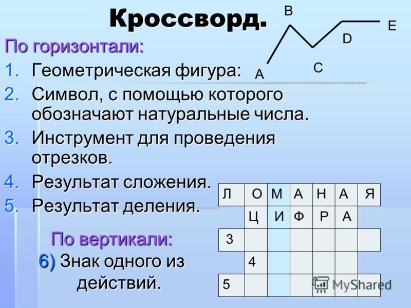 Кроссворд. По горизонтали: 1.Геометрическая фигура: 2.Символ, с помощью которого обозначают натуральные числа. 3.Инструмент для проведения отрезков. 4.Результат сложения. 5.Результат деления. Л 2 3 4 5 М По вертикали: 6) Знак одного из действий. А В