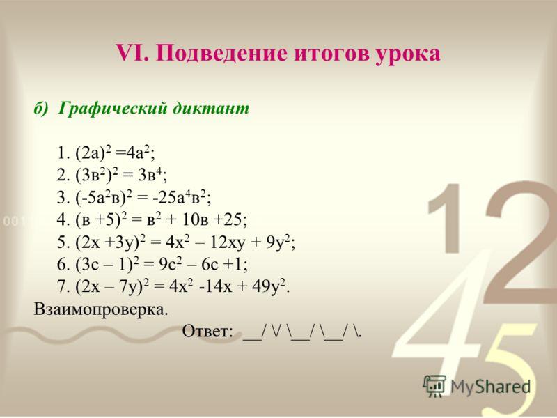 VI. Подведение итогов урока б) Графический диктант 1. (2а) 2 =4а 2 ; 2. (3в 2 ) 2 = 3в 4 ; 3. (-5а 2 в) 2 = -25а 4 в 2 ; 4. (в +5) 2 = в 2 + 10в +25; 5. (2х +3у) 2 = 4х 2 – 12ху + 9у 2 ; 6. (3с – 1) 2 = 9с 2 – 6с +1; 7. (2х – 7у) 2 = 4х 2 -14х + 49у