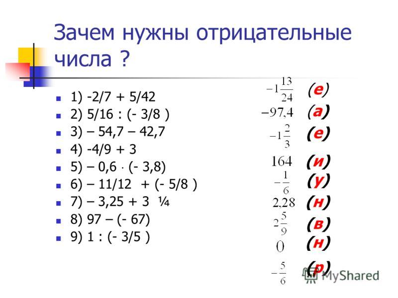 Зачем нужны отрицательные числа? (мнения учащихся 6-а класса ) Для измерения температуры- 13 По программе 6 класса – 2 Чтобы быть умными – 1 Когда-нибудь пригодится – 1 Не знаю -1 Знать больше о числах – 1 Решать примеры и уравнения - 1