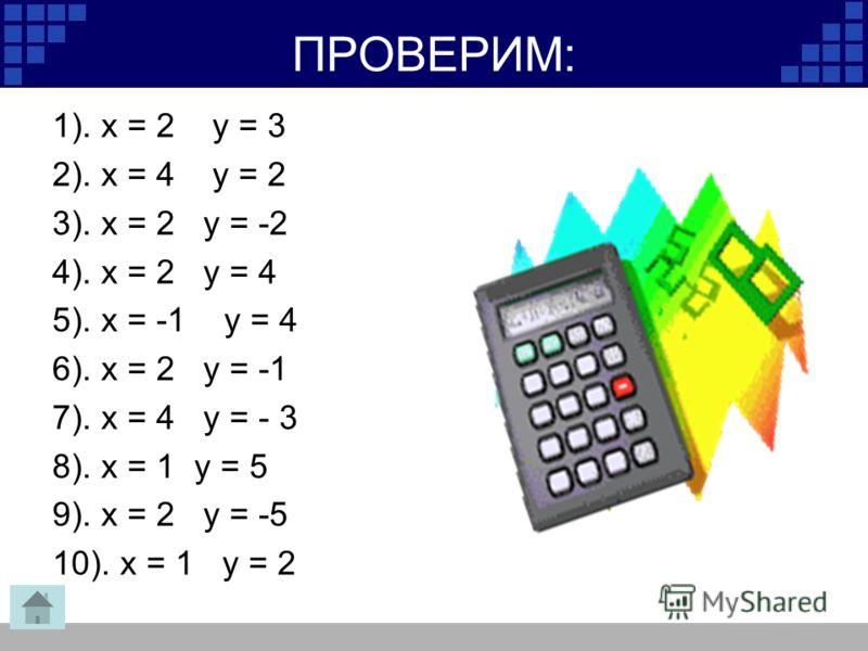 ПРОВЕРИМ: 1). х = 2 у = 3 2). х = 4 у = 2 3). х = 2 у = -2 4). х = 2 у = 4 5). х = -1 у = 4 6). х = 2 у = -1 7). х = 4 у = - 3 8). х = 1 у = 5 9). х = 2 у = -5 10). х = 1 у = 2