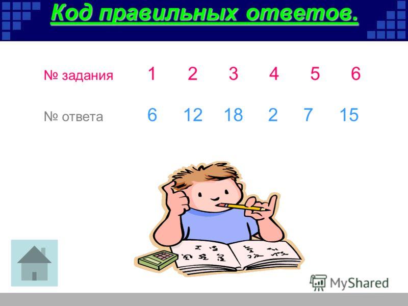 Код правильных ответов. задания 123456 ответа 6 12 18 2 7 15