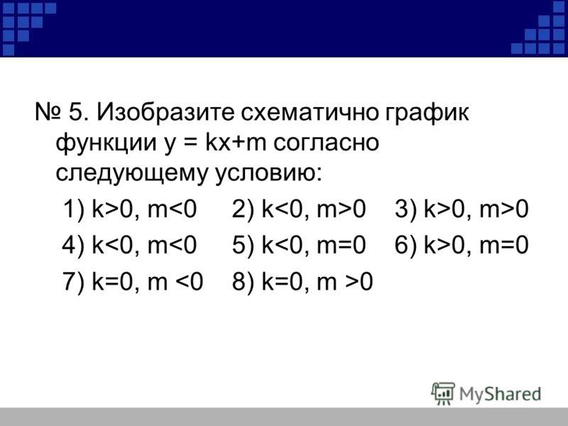 5. Изобразите схематично график функции у = kх+m согласно следующему условию: 1) k >0, m 0 3) k>0, m>0 4) k 0, m=0 7) k=0, m 0