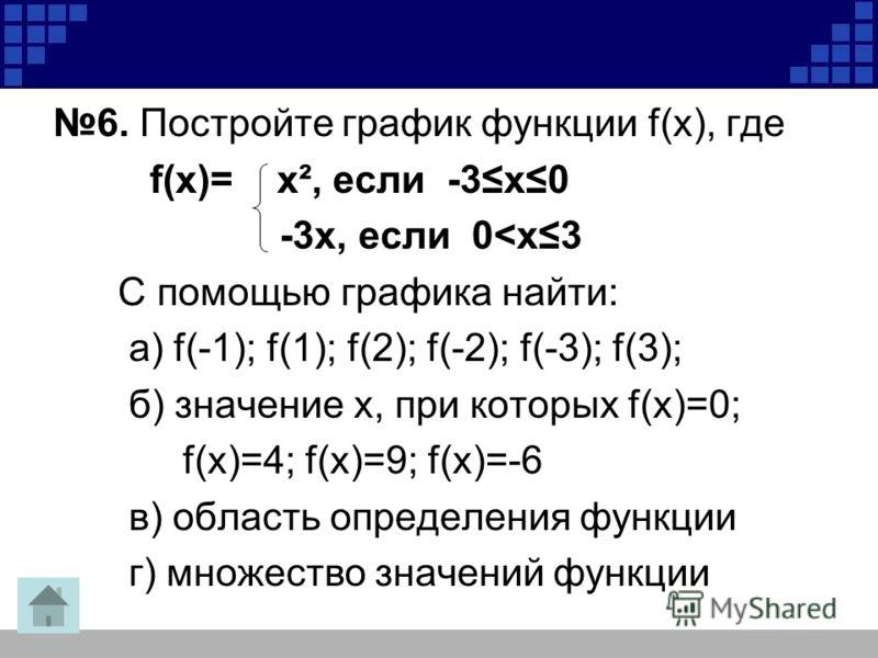 6. Постройте график функции f(х), где f(х)= х², если -3х0 -3х, если 0