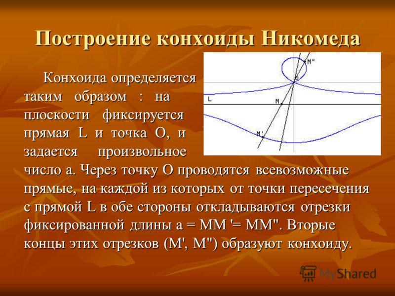 Построение конхоиды Никомеда Конхоида определяется Конхоида определяется таким образом : на плоскости фиксируется прямая L и точка О, и задается произвольное число a. Через точку О проводятся всевозможные прямые, на каждой из которых от точки пересеч