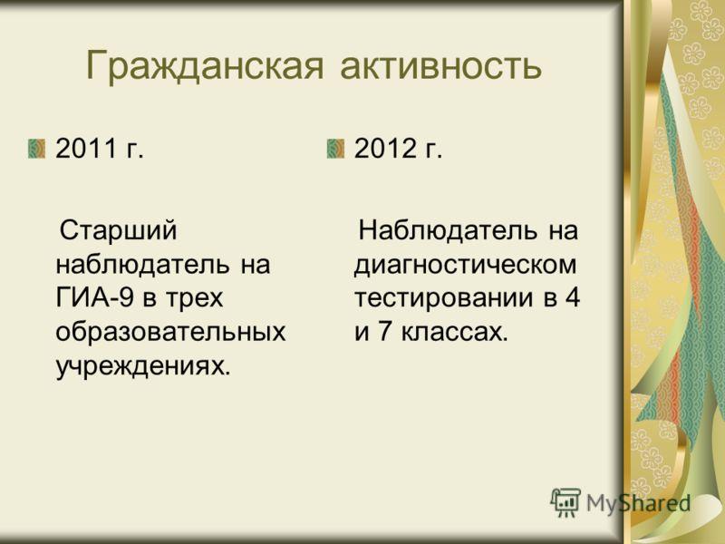 Гражданская активность 2011 г. Старший наблюдатель на ГИА-9 в трех образовательных учреждениях. 2012 г. Наблюдатель на диагностическом тестировании в 4 и 7 классах.