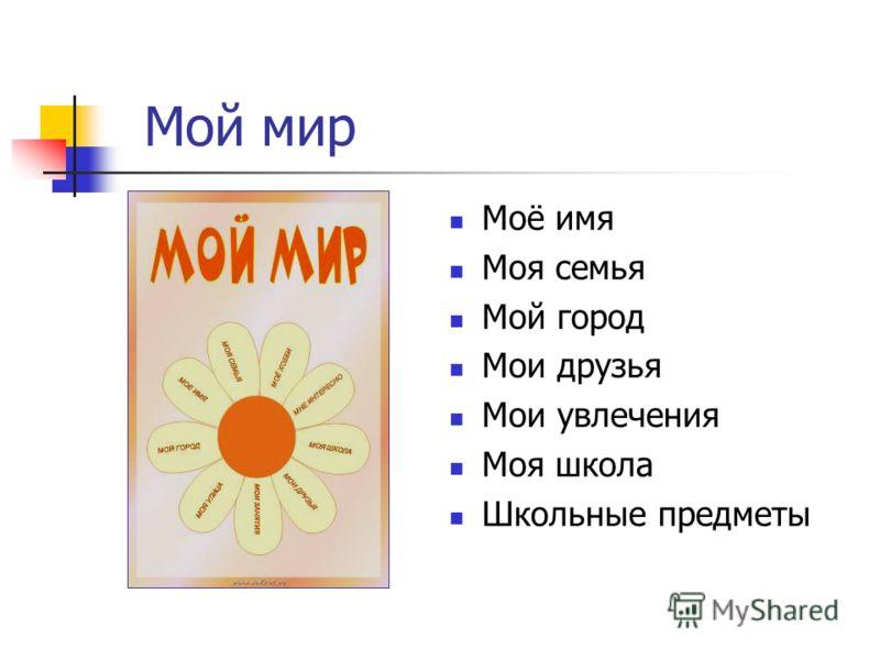 Мой мир Моё имя Моя семья Мой город Мои друзья Мои увлечения Моя школа Школьные предметы