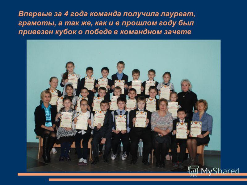 Впервые за 4 года команда получила лауреат, грамоты, а так же, как и в прошлом году был привезен кубок о победе в командном зачете