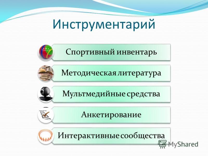 Инструментарий Спортивный инвентарь Методическая литература Мультмедийные средства Анкетирование Интерактивные сообщества