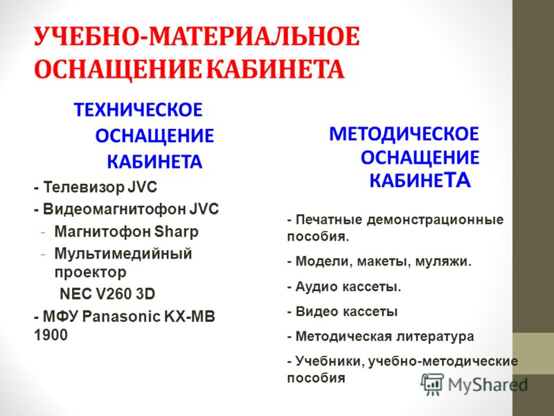 УЧЕБНО-МАТЕРИАЛЬНОЕ ОСНАЩЕНИЕ КАБИНЕТА ТЕХНИЧЕСКОЕ ОСНАЩЕНИЕ КАБИНЕТА - Телевизор JVC - Видеомагнитофон JVC -Магнитофон Sharp -Мультимедийный проектор NEC V260 3D - МФУ Panasonic KX-MB 1900 МЕТОДИЧЕСКОЕ ОСНАЩЕНИЕ КАБИНЕ ТА - Печатные демонстрационные