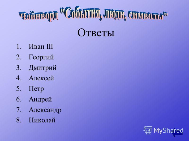 Ответы 1.Иван III 2.Георгий 3.Дмитрий 4.Алексей 5.Петр 6.Андрей 7.Александр 8.Николай