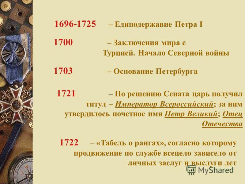 1722 – «Табель о рангах», согласно которому продвижение по службе всецело зависело от личных заслуг и выслуги лет 1696-1725 – Единодержавие Петра I 1703 – Основание Петербурга 1700 – Заключения мира с Турцией. Начало Северной войны 1721 – По решению