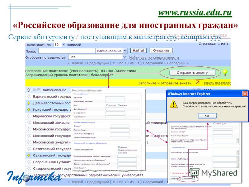 «Российское образование для иностранных граждан» www.russia.edu.ru Сервис абитуриенту / поступающим в магистратуру, аспирантуру…