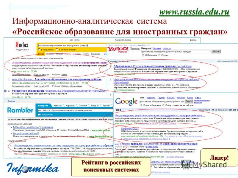 Информационно-аналитическая система «Российское образование для иностранных граждан» Рейтинг в российских поисковых системах Лидер! www.russia.edu.ru