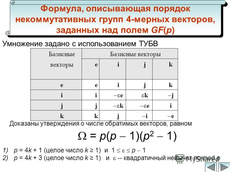 Формула, описывающая порядок некоммутативных групп 4-мерных векторов, заданных над полем GF(p) = p(p 1)(p 2 1) Базисные векторы eijk eeijk ii e k j jj k e i kkj i e Доказаны утверждения о числе обратимых векторов, равном Умножение задано с использова