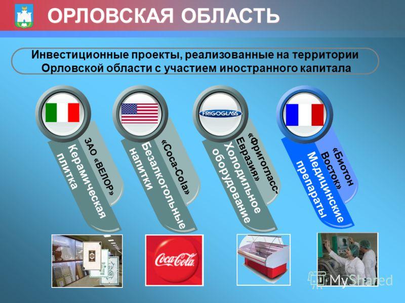 ОРЛОВСКАЯ ОБЛАСТЬ Керамическая плитка ЗАО «ВЕЛОР» Безалкогольные напитки «Coca-Cola» Холодильное оборудование «Фригогласс- Евразия» Медицинские препараты «Биотон Восток» Инвестиционные проекты, реализованные на территории Орловской области с участием