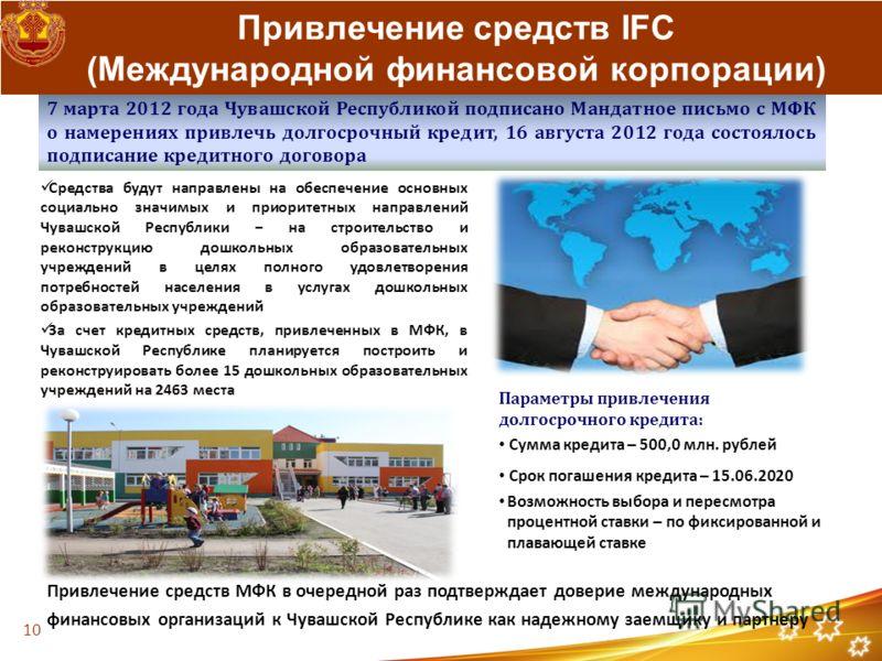 Привлечение средств IFC (Международной финансовой корпорации) 7 марта 2012 года Чувашской Республикой подписано Мандатное письмо с МФК о намерениях привлечь долгосрочный кредит, 16 августа 2012 года состоялось подписание кредитного договора Средства