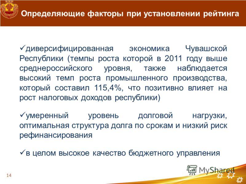 Определяющие факторы при установлении рейтинга диверсифицированная экономика Чувашской Республики (темпы роста которой в 2011 году выше среднероссийского уровня, также наблюдается высокий темп роста промышленного производства, который составил 115,4%