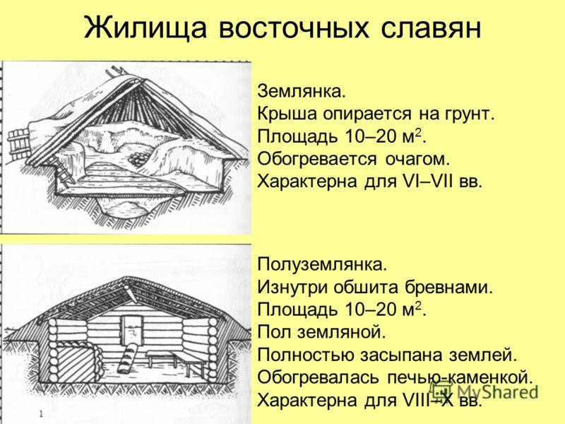 Жилища восточных славян Землянка. Крыша опирается на грунт. Площадь 10–20 м 2. Обогревается очагом. Характерна для VI–VII вв. Полуземлянка. Изнутри обшита бревнами. Площадь 10–20 м 2. Пол земляной. Полностью засыпана землей. Обогревалась печью-каменк