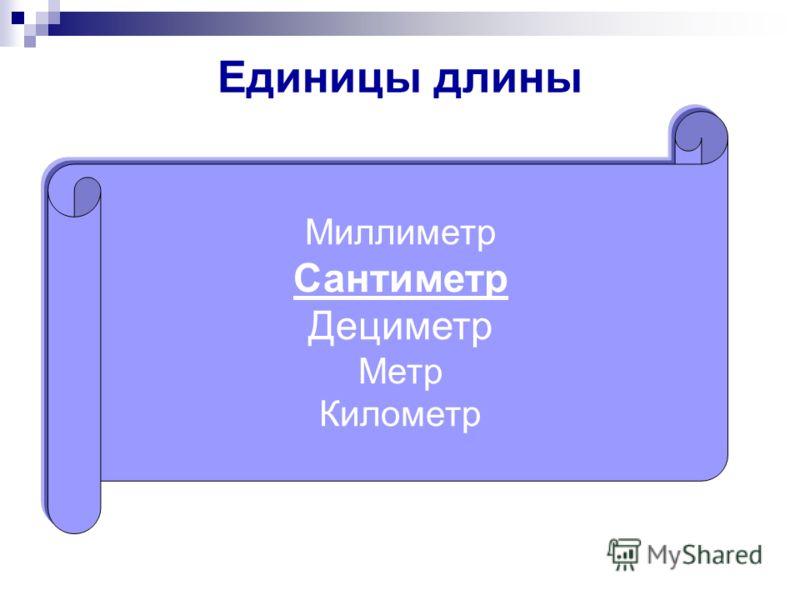 Единицы длины Миллиметр Сантиметр Дециметр Метр Километр