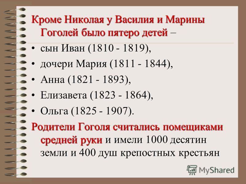 Кроме Николая у Василия и Марины Гоголей было пятеро детей – сын Иван (1810 - 1819),сын Иван (1810 - 1819), дочери Мария (1811 - 1844),дочери Мария (1811 - 1844), Анна (1821 - 1893),Анна (1821 - 1893), Елизавета (1823 - 1864),Елизавета (1823 - 1864),