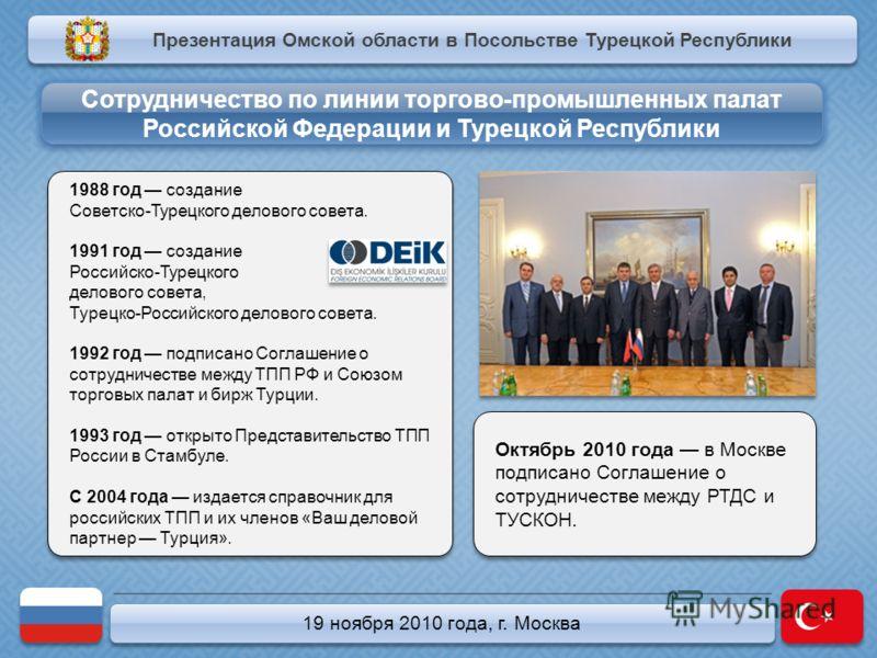 19 ноября 2010 года, г. Москва 1988 год создание Советско-Турецкого делового совета. 1991 год создание Российско-Турецкого делового совета, Турецко-Российского делового совета. 1992 год подписано Соглашение о сотрудничестве между ТПП РФ и Союзом торг