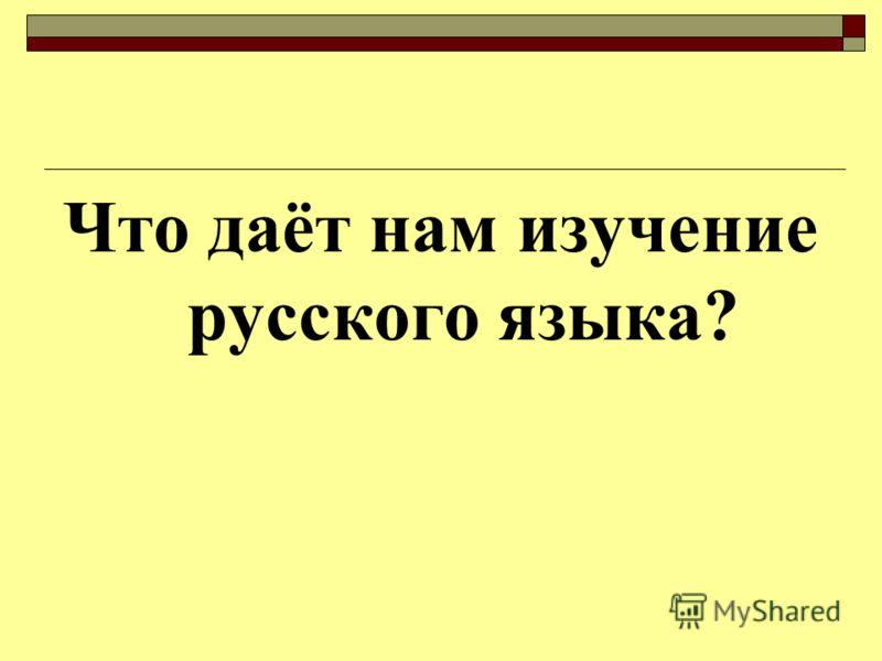 Что даёт нам изучение русского языка?