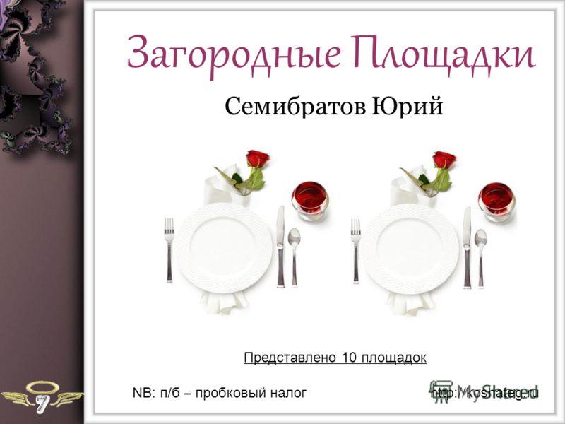 Загородные Площадки Семибратов Юрий Представлено 10 площадок http://koshateg.ruNB: п/б – пробковый налог