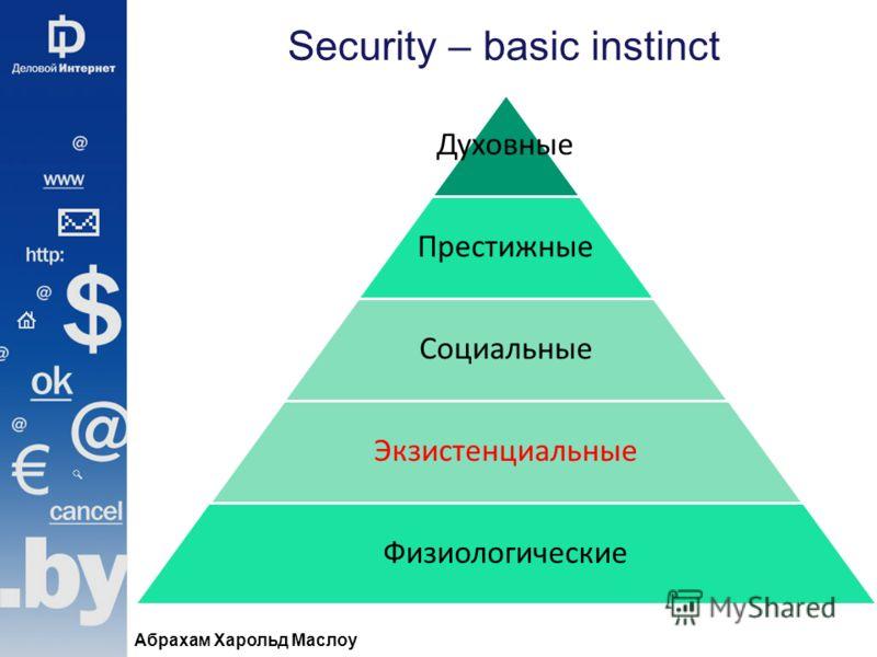 Security – basic instinct Абрахам Харольд Маслоу Духовные Престижные Социальные Экзистенциальные Физиологические