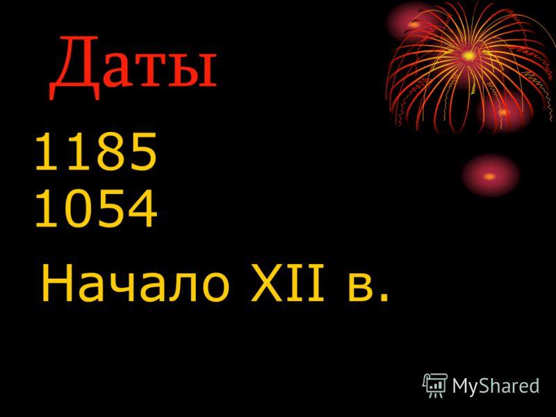 Даты 1185 1054 Начало XII в.