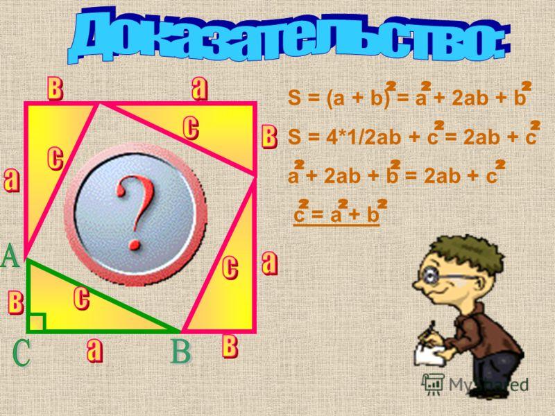 В прямоугольном треугольнике квадрат гипотенузы равен сумме квадратов катетов. А В С с а в АВ 2 = АС 2 + СВ 2