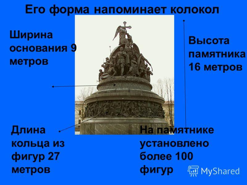Его форма напоминает колокол Высота памятника 16 метров Ширина основания 9 метров Длина кольца из фигур 27 метров На памятнике установлено более 100 фигур