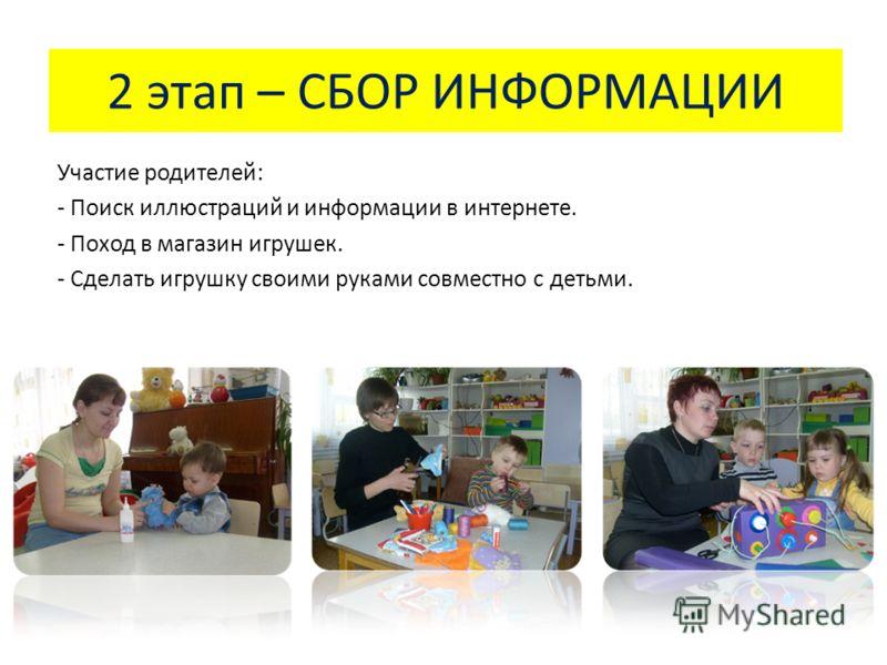 2 этап – СБОР ИНФОРМАЦИИ Участие родителей: - Поиск иллюстраций и информации в интернете. - Поход в магазин игрушек. - Сделать игрушку своими руками совместно с детьми.