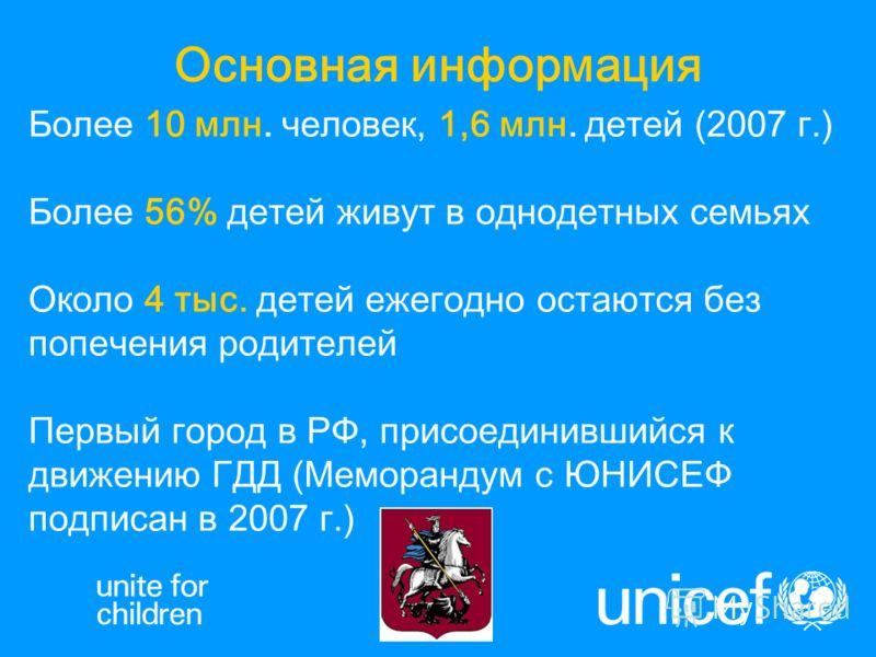 Более 10 млн. человек, 1,6 млн. детей (2007 г.) Более 56% детей живут в однодетных семьях Около 4 тыс. детей ежегодно остаются без попечения родителей Первый город в РФ, присоединившийся к движению ГДД (Меморандум с ЮНИСЕФ подписан в 2007 г.) Основна