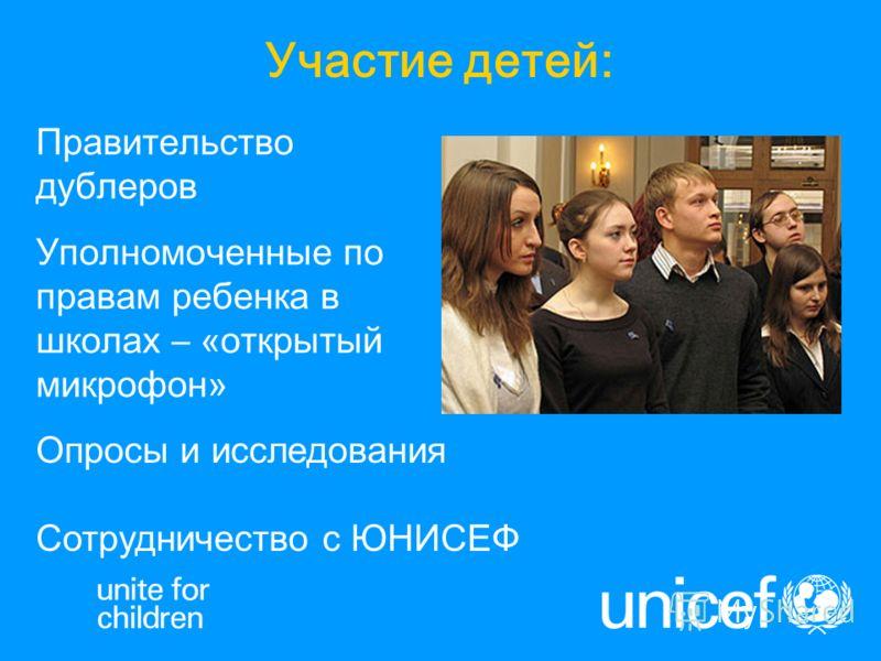 Участие детей: Правительство дублеров Уполномоченные по правам ребенка в школах – «открытый микрофон» Опросы и исследования Сотрудничество с ЮНИСЕФ