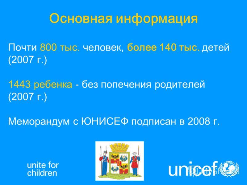 Почти 800 тыс. человек, более 140 тыс. детей (2007 г.) 1443 ребенка - без попечения родителей (2007 г.) Меморандум с ЮНИСЕФ подписан в 2008 г. Основная информация