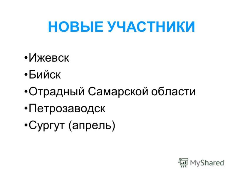 НОВЫЕ УЧАСТНИКИ Ижевск Бийск Отрадный Самарской области Петрозаводск Сургут (апрель)