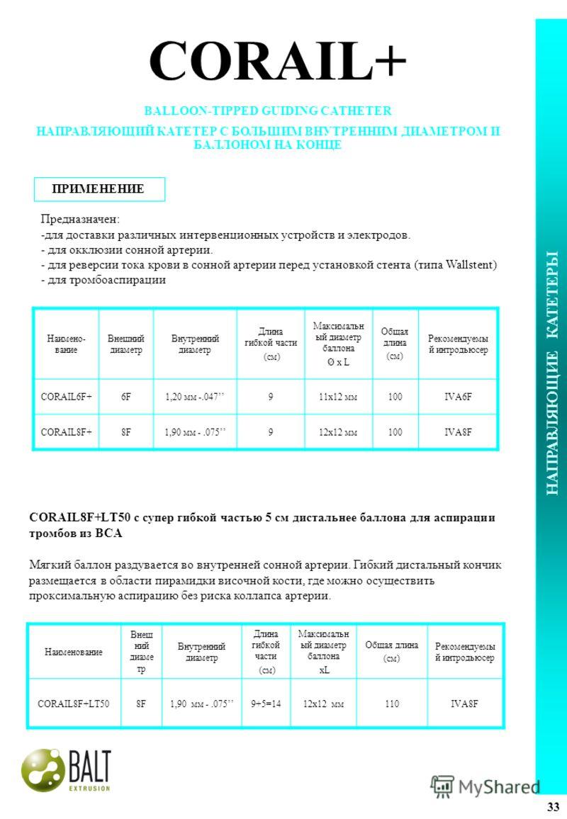 CORAIL8F+LT50 с супер гибкой частью 5 см дистальнее баллона для аспирации тромбов из ВСА Наименование Внеш ний диаме тр Внутренний диаметр Длина гибкой части (см) Максимальн ый диаметр баллона xL Общая длина (см) Рекомендуемы й интродьюсер CORAIL8F+L