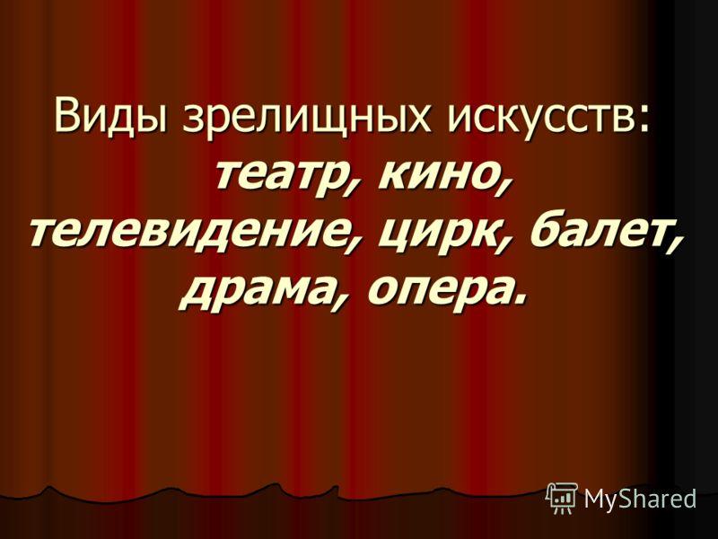 Виды зрелищных искусств: театр, кино, телевидение, цирк, балет, драма, опера.