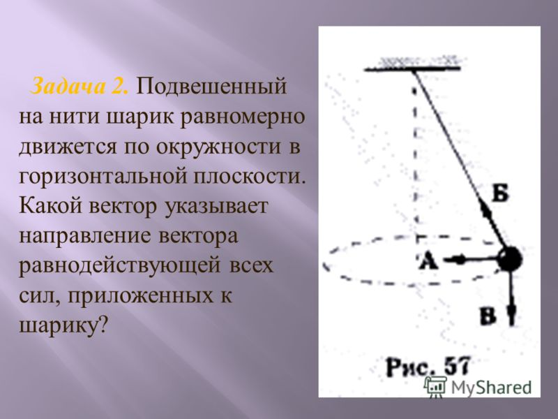 Задача 2. Подвешенный на нити шарик равномерно движется по окружности в горизонтальной плоскости. Какой вектор указывает направление вектора равнодействующей всех сил, приложенных к шарику?