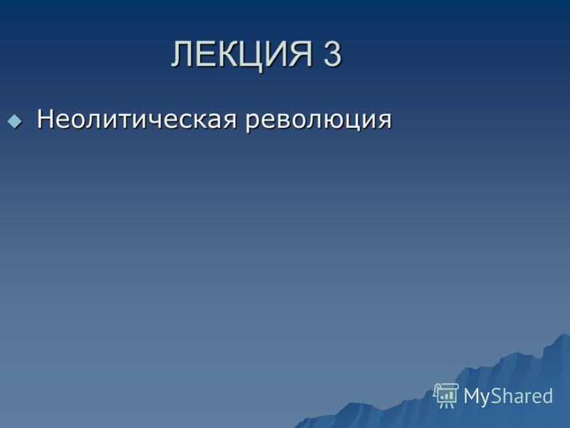 ЛЕКЦИЯ 3 Неолитическая революция Неолитическая революция